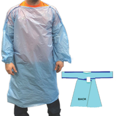 Disposable T-Gown, LLDPE, 68 x 50, 1.5 MIL, Blue, Complies w/ ANSI/AAMI PB70 Barrier, Long Sleeve, F
